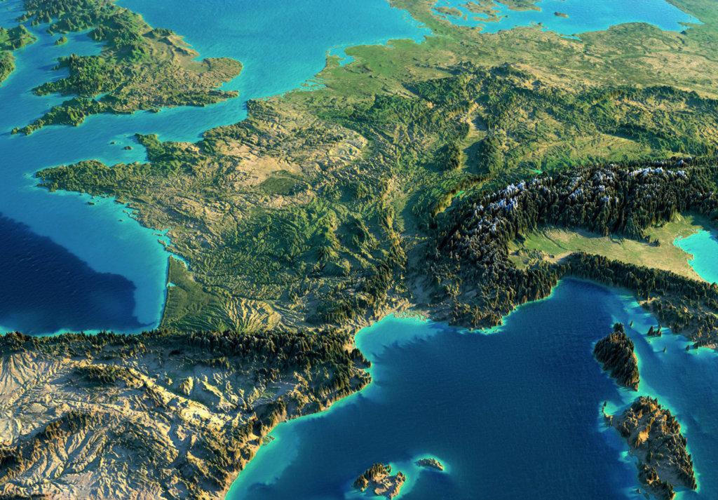 carte relief sud france 1024x713 - Carte potentiel photovoltaïque - Carte potentiel photovoltaïque